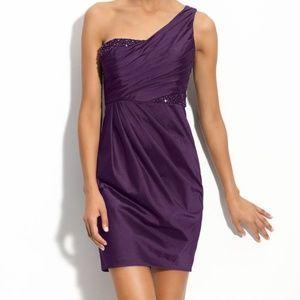 Adrianna Papell Beaded One Shoulder Taffeta Dress